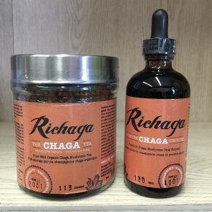 Richaga Corp. Chaga Mushroom - 113g. tea grind & 120ml. tincture Image